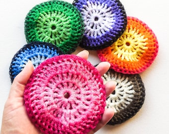Super Size Nylon Dish Scrubbies - Set of 2 through 8 - Choose Your Own Colors - 5 Inch Crochet Pot Scrubber