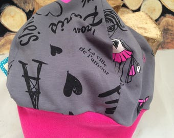 Beanie GR 55 in grey and pink