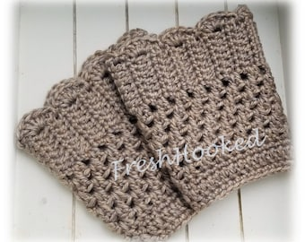 Beige Boot Cuffs Boot Topper Boot Socks Scalloped Top Taupe