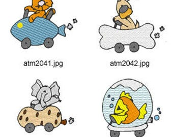 Critter-Cars ( 7 Machine Embroidery Designs from ATW ) XYZ17D