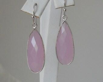 Pink Teardrop Chalcedony Pendant Earrings