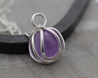 Amethyst Necklace - Sterling Silver Caged Necklace - Gift for her - Amethyst Jewelry - Birthstone - Crystal Necklace