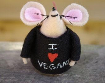 I love vegans, Vegan, Felt, Mouse, Mice, Gifts