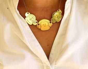 Three Monkeys Necklace,Plexiglass Necklace,Lasercut Acrylic,Gifts Under 25