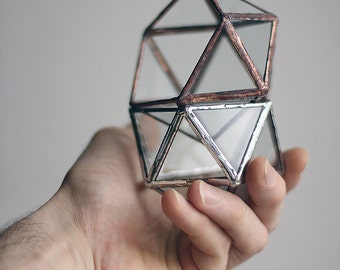 Little Geometric Glass Terrarium #  Icosahedron # Modern Planter for Indoor Gardening