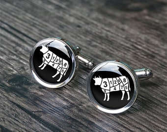 Birthday gift for chef husband beef cutting cufflinks beef butcher cut anniversary cuff links cook christmas gift C3040N