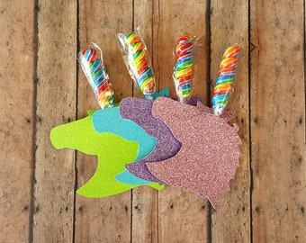 Unicorn Party Favors, Unicorn Lollipop Birthday Favors, Unicorn Valentines, My Little Party Rainbow Dessert Table and Candy Buffet Set of 12