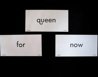 Word Flash Cards, Paper Ephemera, Vintage Flashcard, Vintage Prop, Queen Flash Card, Frameable Word Card, Word Flash Cards, Word Flashcards