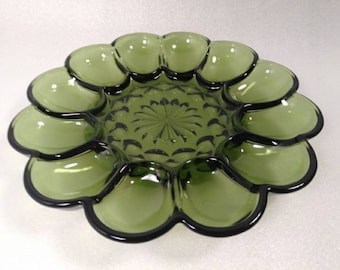 Vintage Anchor Hocking Green Glass Deviled Egg Plate