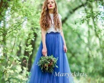 Floor-length tulle skirt fixed waistband with hidden zipper (color - Persian Blue)