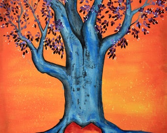 Forget Me Not - 11x14 Art Print - Hollow Tree with Heart and Swirly Clouds - Art by Marcia Furman