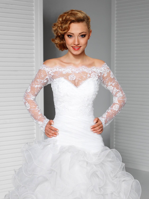 Off-Shoulder Alencon Lace Bolero Jacket Bridal Bolero Bridal