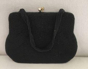 Vintage 50s Beaded Black Mini Evening Bag Purse