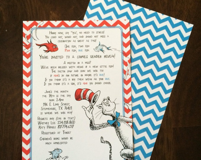 5x7 Chevron Dr. Seuss Gender Reveal Announcement Invitation Boy or Girl