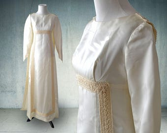 1960s Satin Wedding Gown with Long Sleeves Regency Dress
