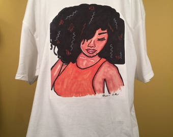 "African American Woman T-Shirt with an Original Painting ""Embracing My Beauty"" by Princess DaNee'"