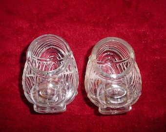 Pair Clear Glass Birdcage Bird Cage Feeders Waterers Feed Antique Vintage