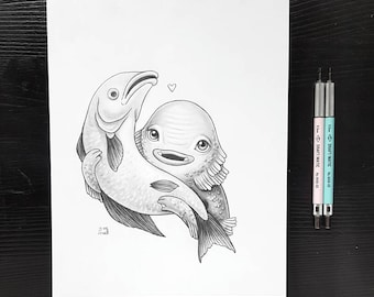 Drawlloween Day 6 Black Lagoon by Grelin Machin - original drawing on paper