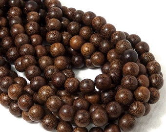 """Madre de Cacao Wood, Dark, 10mm, Round, Smooth, Large, Natural Wood Beads, Full 16"""" Strand, 42pcs - ID 1649-DK"""