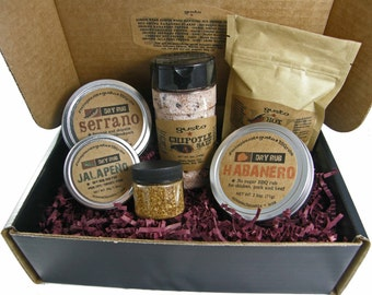 "Gusto's ""Hot Hot Hot"" Barbecue Gift Box w/ Red Savina Habanero, Serrano BBQ Rub, Ghost Pepper Salt and more!"