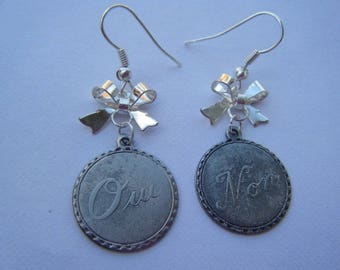"Silver earrings ""Yes and no"""