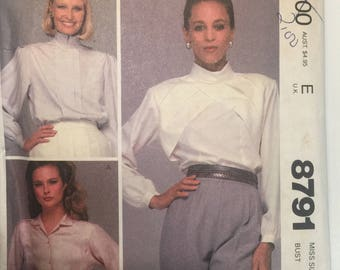 Miss PLEATED BLOUSE Size 8 McCalls # uncut Sewing Pattern