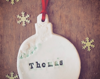 Personalised Porcelain Bauble - Christmas Tree Decorations