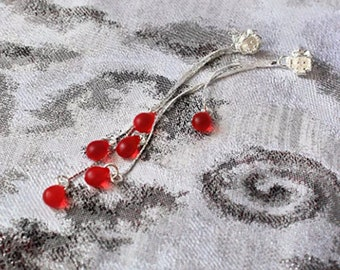 red stud earrings dangle studs silver bright red matte jewelry elegant ruby red earrings long jewelry  пя125