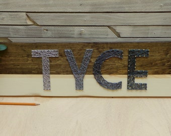 Color Block String Art Wooden Name Tablet - 4 letters