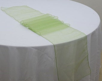 Apple green Organza Table Runners Wedding Banquet Ceremony Feast Birthday Anniversary Sheer Chair Sashes Party Dining Table Decorations