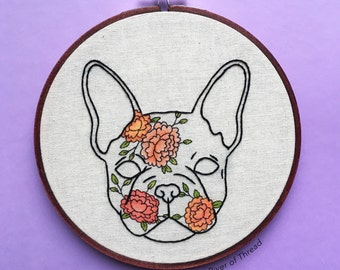 French Bulldog Peonies - Contemporary Embroidery