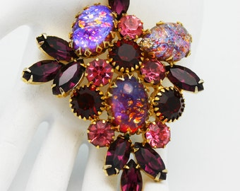 Vintage Brooch Valentine Siam Red and Confetti Art Glass