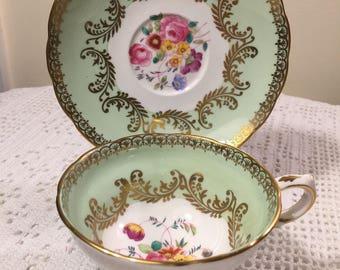 Grosvenor England tea cup - mint green - gold trim - floral tea cup - Gold Filigree - Floral tea cup - Vintage Grosvenor china - Tea party