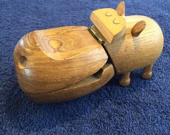 Vintage Zoo Line Hippo Figurine Mid Century Danish Modern Wood Trinket Box
