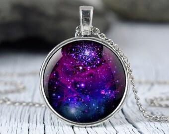 Galaxy purple necklace Purple nebula pendant Space necklace Universe jewelry