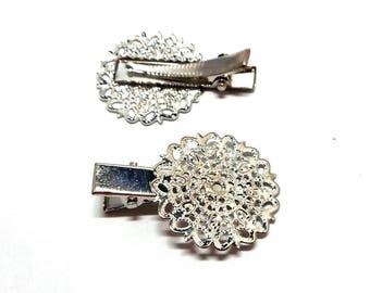 Set of 2 hair filigree silver metal