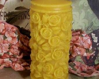 Beeswax Rose Pillar Candle 2013