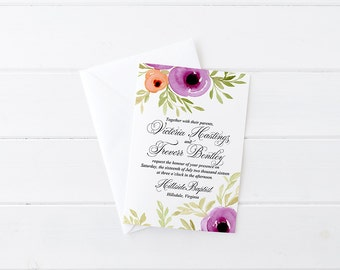 Printable diy wedding templates watercolor by paintthedaydesigns floral invitation card watercolor wedding invitation calligraphy wedding invite spring blooms watercolor invitation stopboris Choice Image