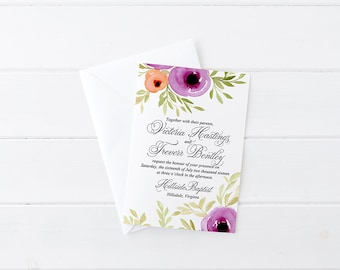 "Floral Invitation Card Watercolor Wedding Invitation - Calligraphy Wedding Invite ""Spring Blooms"" Watercolor Invitation Card Rustic Wedding"