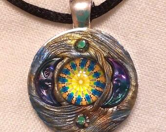Mosaic, Mystical Sun, Moon, Celestial, Gypsy, Mandala Pendant, PA-76