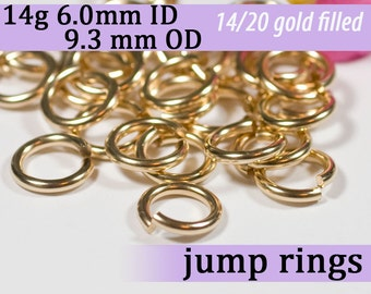 14g 6.0mm ID 9.3mm OD gold filled jump rings -- goldfill 14g6.00 jumprings 14k goldfilled