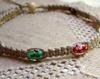 Surfer Phatty Thick Hemp Necklace With Glass flower Beads Choker