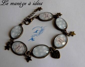Bracelet / Cabochon / glass/Metal/Bronze adjustable in the stars, Vintage.