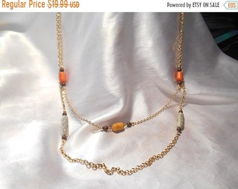 ON SALE 25% OFF Vintage Sarah Coventry Signed Double Beaded Gold Tone Necklace Bittersweet From 1975