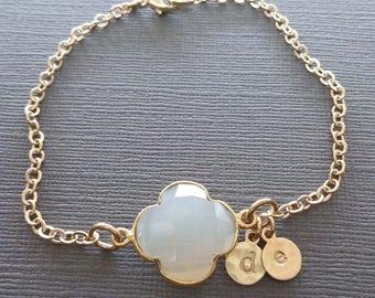 Personalized Gold Initials Bracelet - Lucky Mom Clover Bracelet- White Chalcedony Gold Initials - Mothers Day Gift - Custom Jewelry -B69