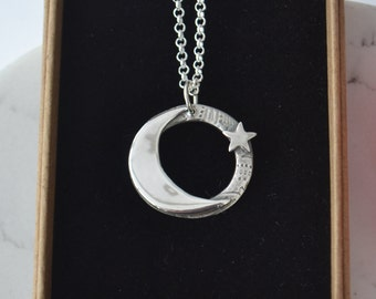 Handmade fine silver crescent moon and star necklace, Moon and star pendant.