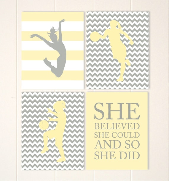 Yellow grey chevron girls wall art basketball girl art