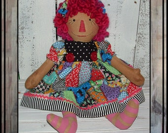 Primitive folk art  Patchwork hand embroidered Rag doll wool yarn hair HAFAIR painted legs raggedy girl oFG faap