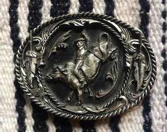 Silver Cowboy Vintage Belt Buckle