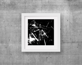 Black Abstract Art, Square Abstract Art, Contemporary Art, Modern Art, Black and White Art, Large Abstract Art